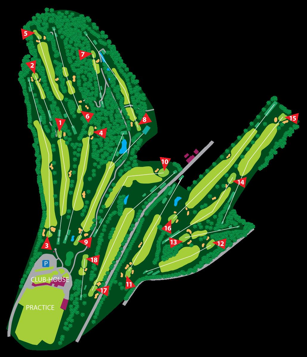 Plan du Parcours - Golf de Liège-Gomzé